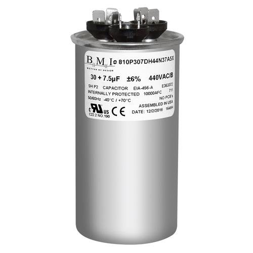Genteq • 30 GE 7.5 uf 440 VAC • Round Dual Run Capacitor • C43075R • 97F9982