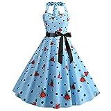 Gibobby Women's Summer Boho Sleeveless Floral Print Tank Long Maxi Dress Blue