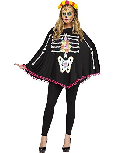Fun World Women's Skeleton Poncho, Multi, Standard]()