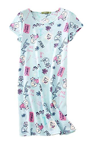 Cat Sleepshirt - Inadays Women's Sleepwear Cotton Sleep Tee Short Sleeves Print Sleepshirt SQ002-Cat Heart-S