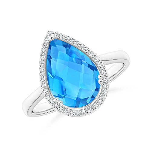 (Pear-Shaped Swiss Blue Topaz Cocktail Ring with Diamond Halo in 14K White Gold (12x8mm Swiss Blue Topaz))
