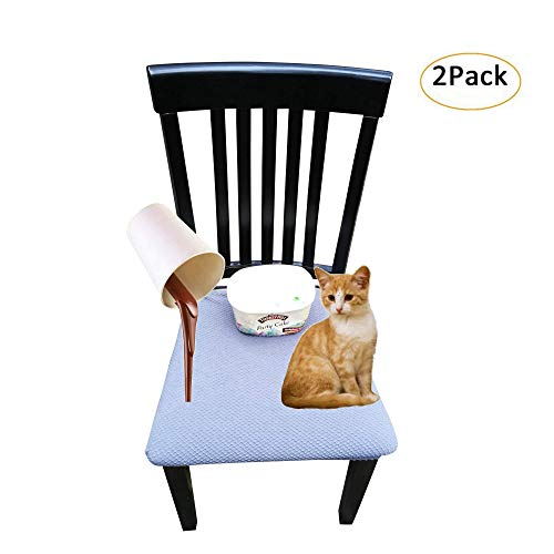 Waterproof Dining Chair Cover Protector – Pack 2 – Perfect for Pets, Kids, Elderly, Restaurants, Party – Machine Washable, Snugly Fit, Removable, Clean The Mess Easily (Charcoal Grey)