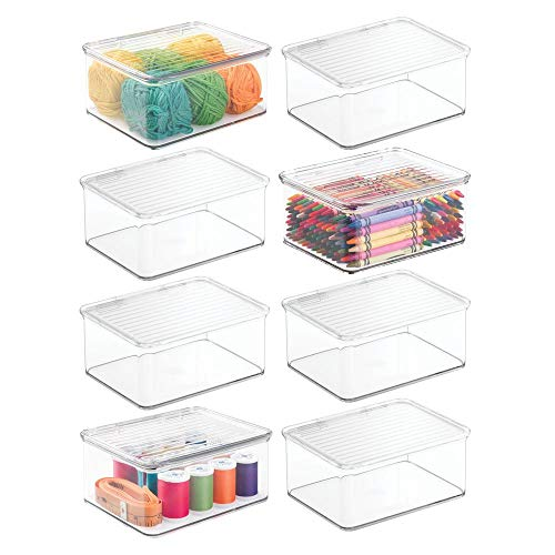 mDesign Stackable Plastic Craft, Sewing, Crochet Storage Container Bin with Attached Lid – Compact Organizer and Holder for Thread, Beads, Ribbon, Glitter, Clay – Small, 3″ High – 8 Pack – Clear