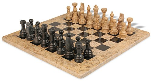 Classic Coral Stone & Black Marble Chess Set with 16