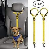 BWOGUE 2 Packs Dog Cat Safety Seat Belt Strap Car Headrest Restraint Adjustable Nylon Fabric Dog Restraints Vehicle Seatbelts Harness