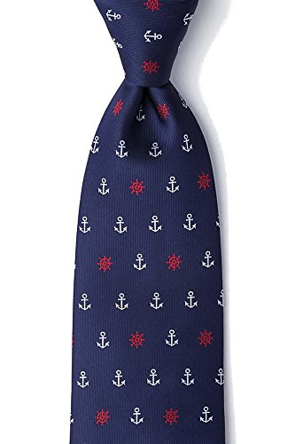 Men's Nautical Anchors & Ships Wheels Microfiber XL Extra Long Tie Necktie (Navy Blue) -