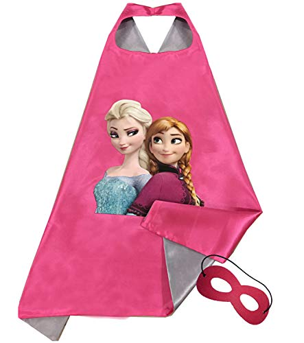 Frozen Sisters, Girls Super Hero Cape and Mask Dress Up Costume, Elsa and Anna, Halloween, -