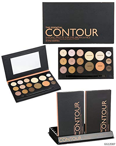 (Style Essentials THE ESSENTIAL CONTOUR SHADING PALETTE for Eyes, Brows, and Face - 16 Shades Matte and Shimmer Finishes)