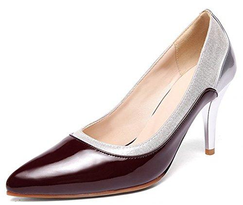 Idifu Donna Sexy Colore A Contrasto Scarpe A Punta Basse Slip On High Tacchi A Spillo Metallici Scarpe Scarpe Vino Rosso