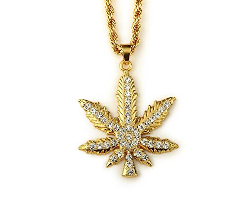 "Hip-Hop Marijuana Leaf Pendant Necklace with Rhinestones (31"" Chain) (Gold)"