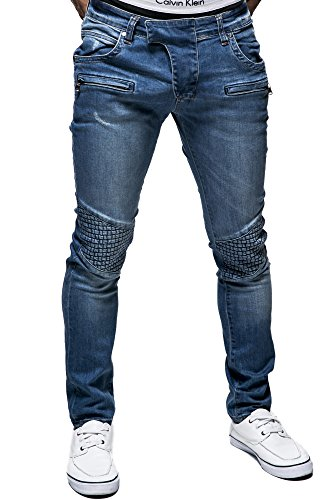 baja estilo ; Tamaño de BALANDI vaquero tallaje S cintura y Blau hombre ajustado chino de Pantalón azul z7xqxwO