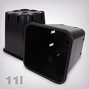 Macetero de plástico Cuadrado/Negro, 11L)