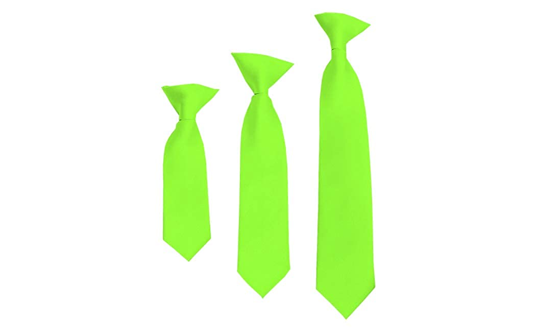 Solid Hot Lime Boys 14 Clip On Tie