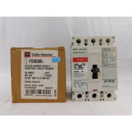 Eaton FD3030 Panel Mount Type FD Molded Case Circuit Breaker 3-Pole 30 Amp 600 Volt AC 250 Volt DC by Eaton