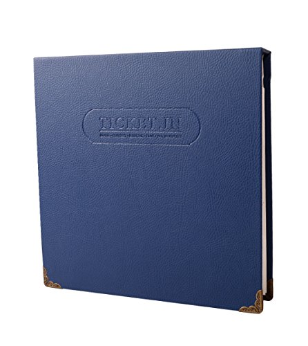 "FaCraft Ticket Album Holds 120 3x6"" Pockets for Storing Tickets Leather Cover Ticket Stub Organizer (Blue)"