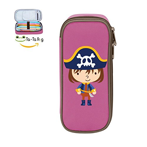 Pen Case Cute Pirate Pencil Bag Big Capacity Multifunction Canvas-Pink for kids (Clip Holder Paper Pirates)