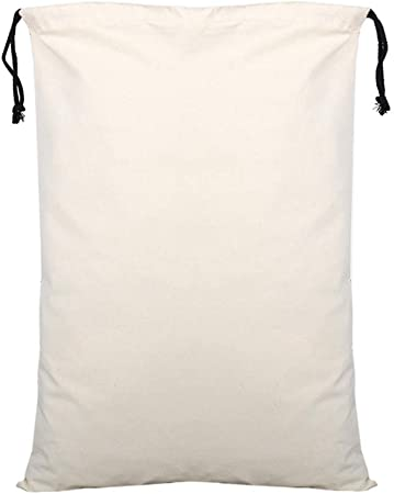 CZSM Conjunto de 10 Bolsas Lona Blanca con cordón, algodón de Santa Bolsas Sacks, de Gran tamaño 50x70cm: Amazon.es: Hogar
