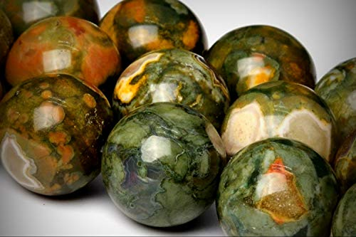 Approx. 30 Beads Lot - 12mm Rainforest Rhyolite Color Grade AA Round Loose Jewelry Making Beads 15