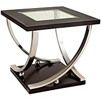 Standard Furniture Melrose End Glass Table with Caster, Brown
