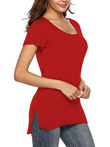 Florboom Womens Soft Cotton Scoop Neck Loose Split Tshirts Long Tee Shirts Red - Red Soft Ribbed Womens