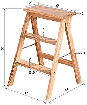 GBX Taburete, escalera Taburete plegable portátil Escaleras que suben Silla de madera maciza Adecuado para cocina Sala de estar multifunción Escalera retráctil Taburete escalonado,Blanco: Amazon.es: Bricolaje y herramientas