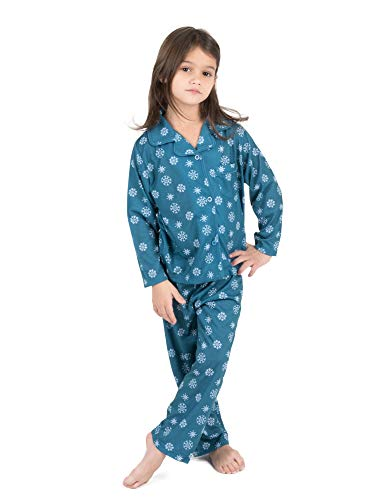 (Leveret Kids Pajamas Flannel Pajamas Boys & Girls 2 Piece Christmas Pajama Set Snowflake 10)