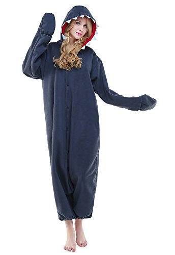 Cozy Shark Adult Costumes (Canasour Unisex Adult Pajamas- Plush One Piece Unisex Costumes (XL, Shark))