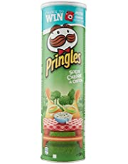 Pringles - Sour Cream and Onion Crisps - 200 grams x 1 pack - Stackable potato-based chips - Savory snack with sour cream & onion taste - Resealable Container