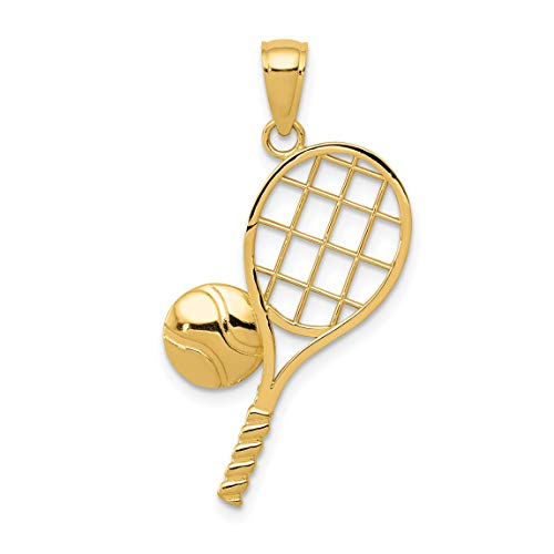 Polished 14k Yellow Gold Tennis Racket And Ball Pendant 26x20mm ()