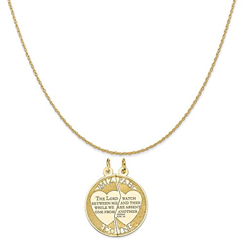 14k Yellow Gold Mizpah Break-Apart Charm on a 14K Yellow Gold Rope Chain Necklace, 16