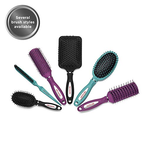 Revlon Straight & Smooth Soft Touch Paddle Hair Brush Set, Black + Berry