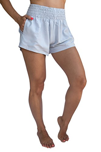 - PI Women's High Waist Shorts Summer Athleisure One Size (Stretches 0-12) - Ivory