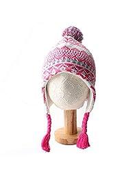 WARMSHOP Little Girls Winter Ear Flap Beanie Hat �� Winter Warm Cotton Lining Twist Pom Crochet Beanie Cap for 0-3T