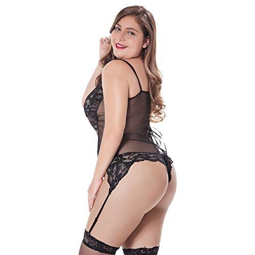 15ac4b0b82b JYVIN Plus Size Lace Teddy Black Sexy Lingerie Chemise Sets Babydoll  Bodysuit