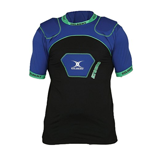 GILBERT Adult Atomic V2 Rugby Body Armour, Black/Blue, L Atomic Rugby Body Armour