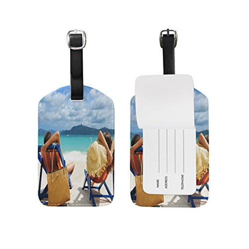 FunnyCustom Luggage Tags Vacation Relax Couple Man Woman Travel ID Identifier by FunnyCustom