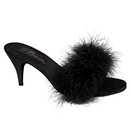 3 Inch Klassieke Marabou Pantoffel Namaakbont Sexy Schoenen Zwart Satijn