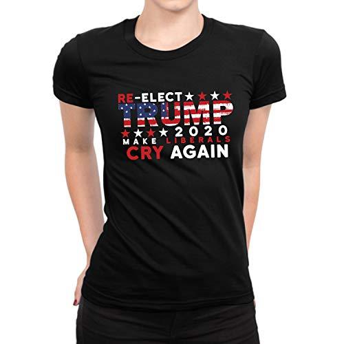 - Donald Trump Anti Liberals Shirt for Women - Re-Elect Trump Flag Make Liberals Cry Again Tshirt Women (L)