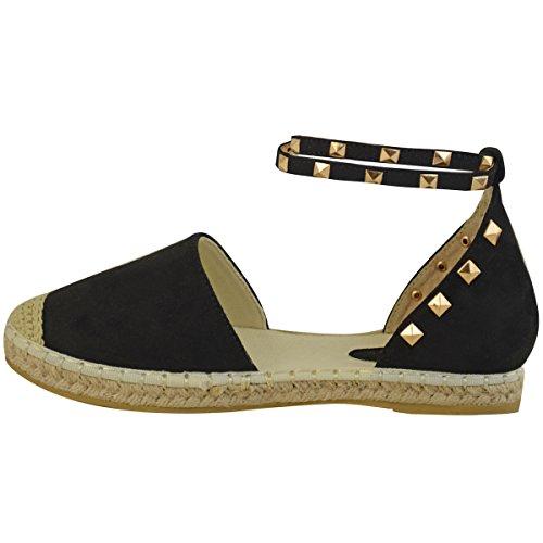 Rock Mujer Tachuela Tobillo Artificial Planas Tiras Sandalias Talla Fashion Negro Zapatos De Alpargatas Thirsty Ante Verano 5vzaqa