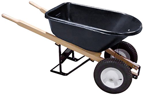 Bon 28 705 Premium Contractor Grade Poly-Tray Double Wheel Wheelbarrow with Wood Handle and Flat Free Tire, 5-3/4 Cubic - Tray Wheelbarrow Contractor
