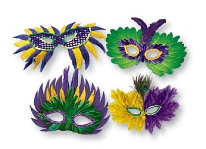 [Mardi Gras Feather & Fabric Masks Assortment (4)] (Sexy Halloween Costumes Canada)