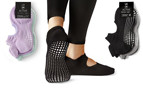 LA Active Grip Socks - 2 Pairs - Yoga Pilates Barre Ballet Non Slip, Powder Grey/Noire Black, Medium