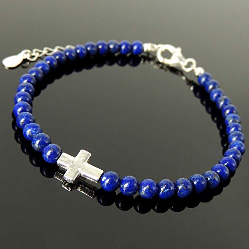 - Men's Women's Religious Jewelry, Lapis Lazuli Gemstones Small Prayer Cross for Courage, Handmade Adjustable Clasp Bracelet, 4mm Small Beads, Genuine 925 Purity Non Plated Sterling Silver