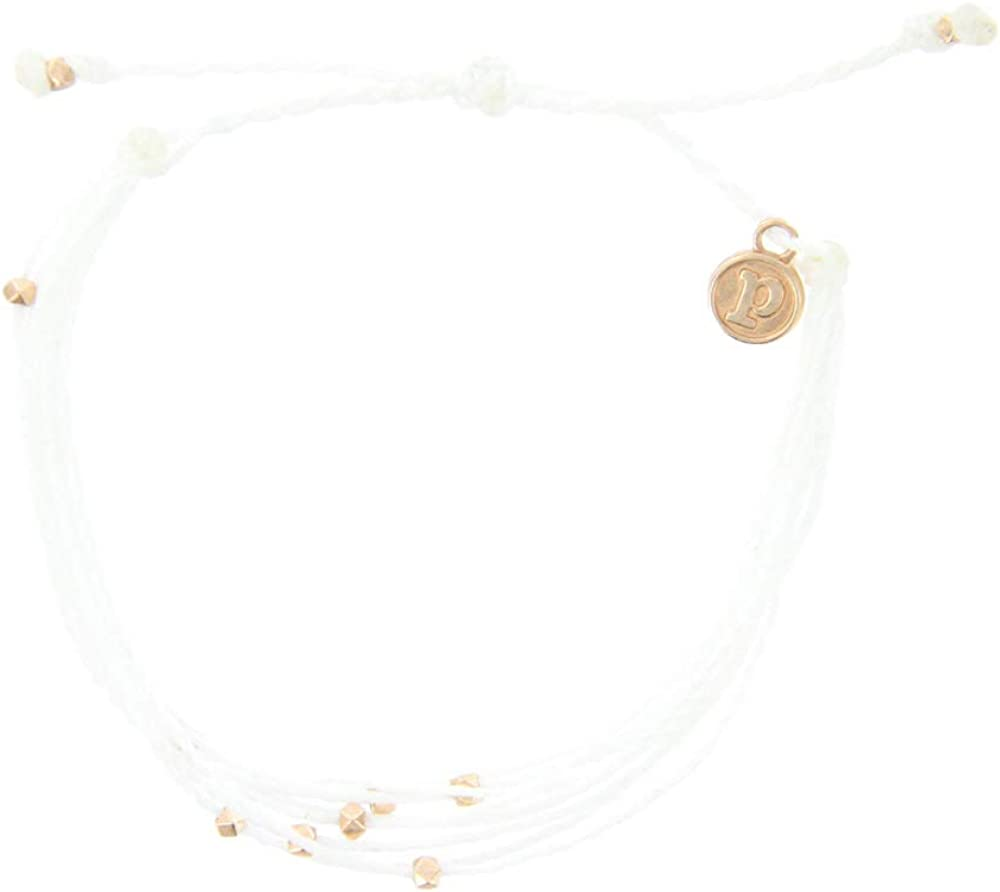Pura Vida Rose Gold Malibu Beaded Bracelet - Silver Plated Charm, Adjustable Band