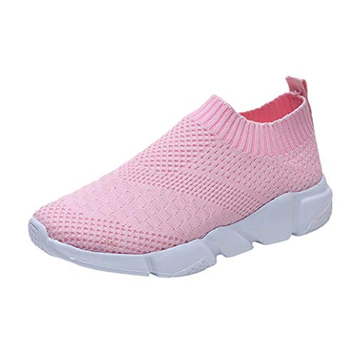 Price comparison product image Womens Mesh Breathable Shoes Casual Slip On Comfortable Running Sports Shoes Close Toe Sneakers Sopzxclim Pink