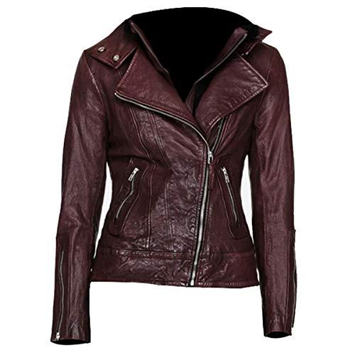 UGFashions Jennifer Morrison Once Upon a Time S4 Emma Swan Brando Maroon Slimfit Biker Leather Jacket