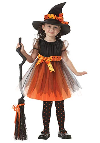 TRADERPLUS Girl Halloween Witch Costumes Dress, Hat & Knee Socks Set (3Pcs Set) (Small / 1-2 Years)