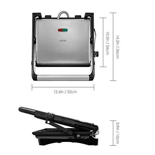 Panini Press Gourmet Sandwich Maker, 4-Slice Extra Large Panini Press Grill with Non-Stick Coated Plates and Removable Drip Tray, Stainless Steel, 1200W by AICOK (Image #7)