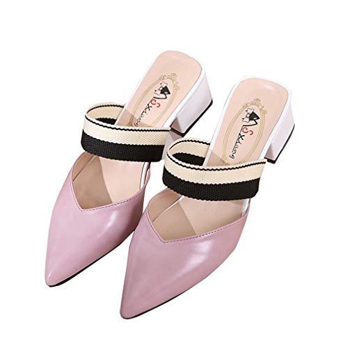 Pink pour À Bas Talons Pointues des avec Chaussons YUCH Chaussures Femmes Froids BT8PPq
