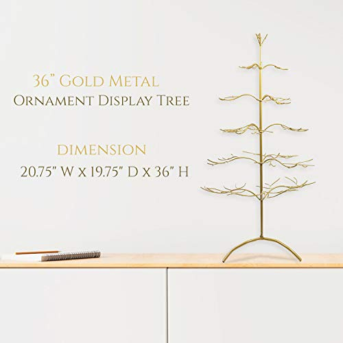 """986d6ed1e971a6 Tripar Metal Ornament Display Tree and Jewelry Organizer – 36"""" Wire Ornament  Stand and Necklace"""